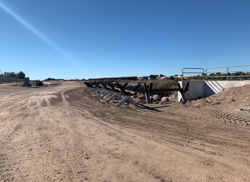 New border wall under construction near the Morelos Dam