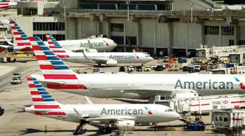 American Airline planes awaiting departure.