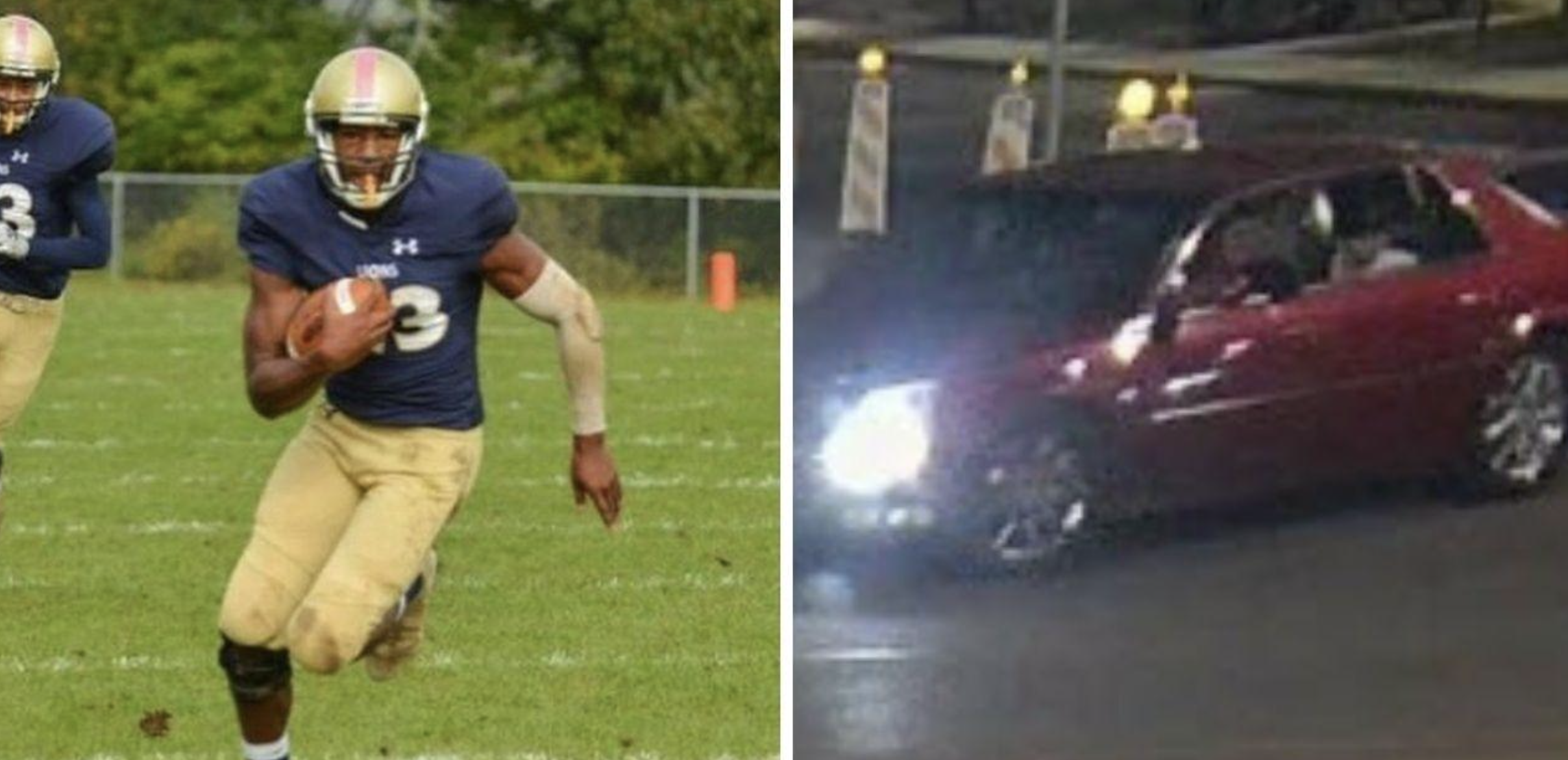 (Left) Forrest Keys playing football in high school  (R) Police are searching for this red suspect car