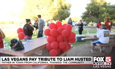 Las Vegas residents gather for a balloon release in memory of 6-year-old Liam Husted