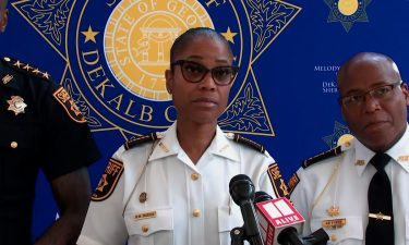 Sheriff Melody Maddox speaks at a press conference following a shooting at a supermarket in Dekalb County