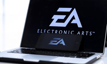 A photo shows the logo of 'Electronic Arts' video game company on a laptop screen. Hackers have broken into the systems of Electronic Arts and stolen source code used in company games