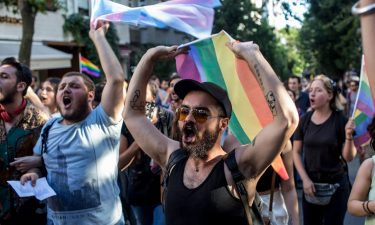 Pride marchers on June 25