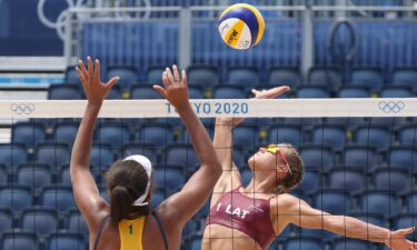 Latvia upsets Brazil in beach volleyball