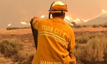 Yuba City Fire Department OES 407 takes in the view while on the Beckwourth complex Fire.