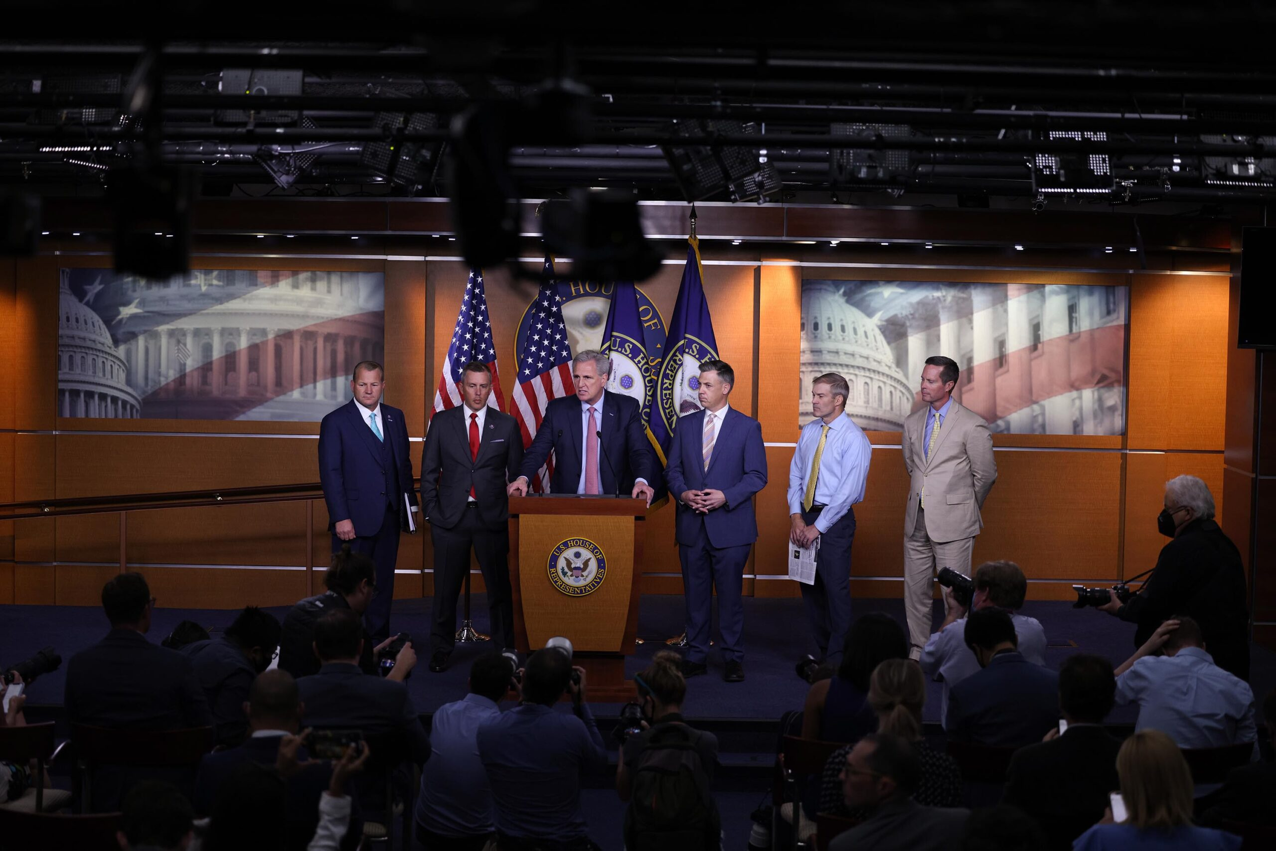 <i>Anna Moneymaker/Getty Images</i><br/>House Minority Leader Kevin McCarthy speaks at a news conference