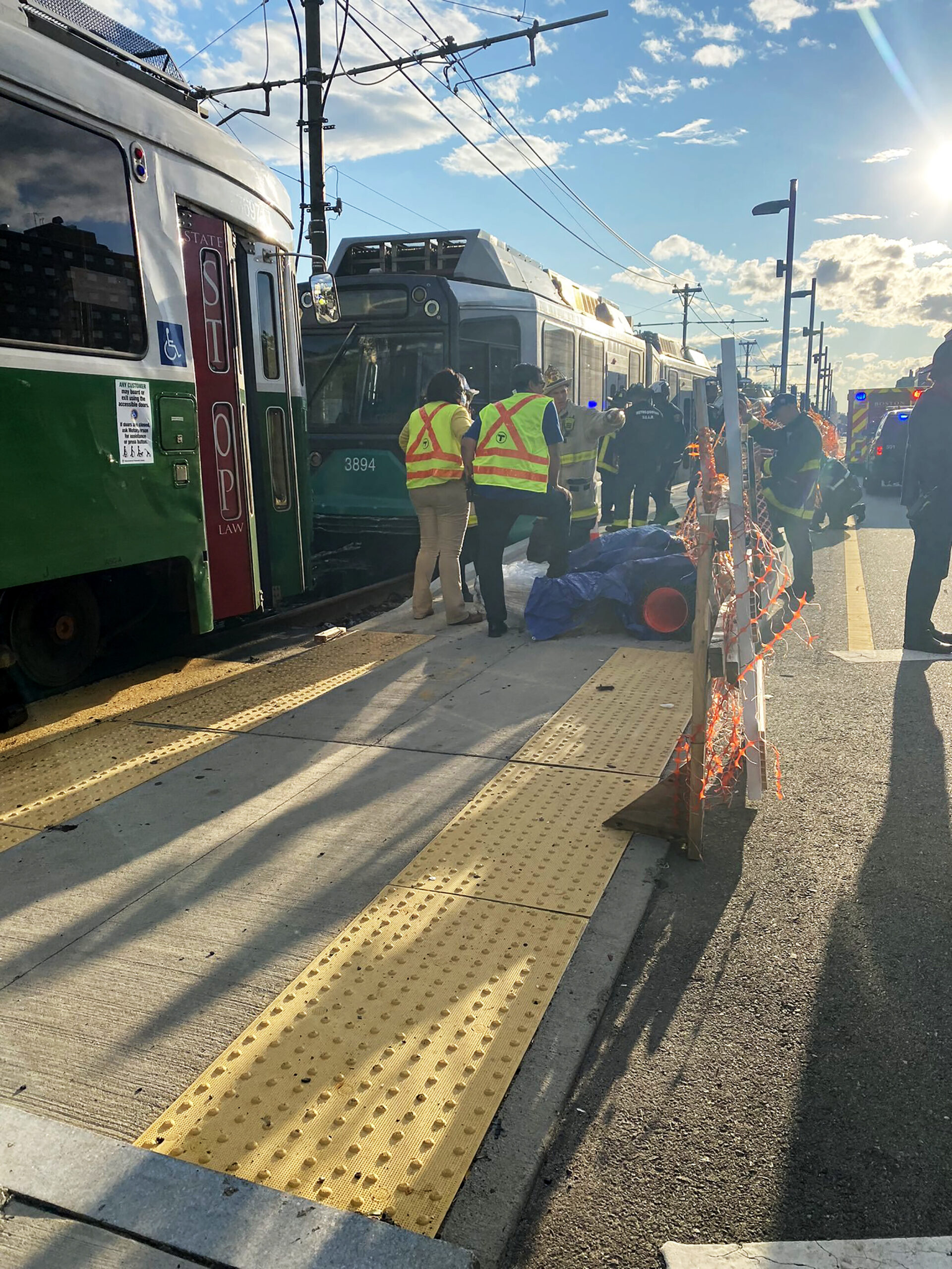 <i>Boston Fire Department</i><br/>Multiple people were reported injured after the Massachusetts Bay Transport Authority said two trains collided with one another on the Commonwealth Avenue rail line in Boston.