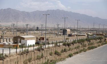 Blast walls and buildings at the Bagram Air Base on July 5.