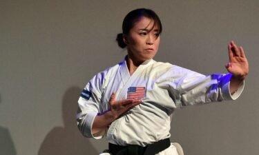 Martial artist Sakura Kokumai performs during a Panasonic press event for CES 2020 at the Mandalay Bay Convention Center on January 6