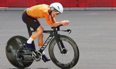Netherlands' Annemiek Van Vleuten competes in the women's cycling road individual time trial