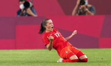 Jessie Fleming #17 of Canada celebrates her goal during a game between Canada and USWNT at Kashima Soccer Stadium on August 2