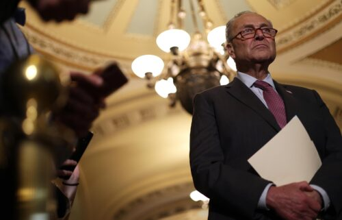 Chuck Schumer announced Sunday evening that the bipartisan group of senators has finalized the legislative text on the infrastructure bill. Schumer is seen here at the US Capitol on July 13.