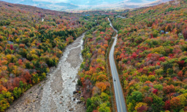 Colorful fall foliage is on display at the White Mountain National Forest in New Hampshire in October 2020.
