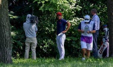 USA's Xander Schauffele saves bogey after errant tee shot