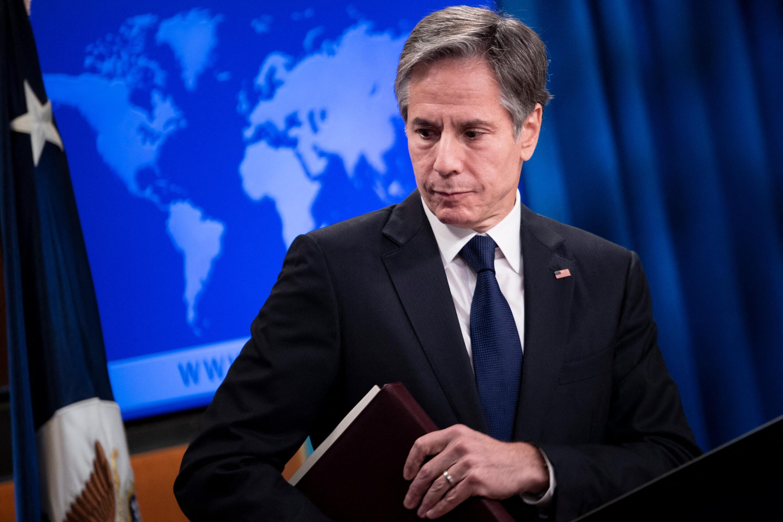<i>BRENDAN SMIALOWSKI/AFP/POOL/Getty Images</i><br/>An ideologically diverse group of Democrats is pushing Secretary of State Antony Blinken to take specific steps toward helping thousands of individuals still seeking to leave Afghanistan