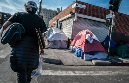 Tents line full blocks of Skid Row in Los Angeles.