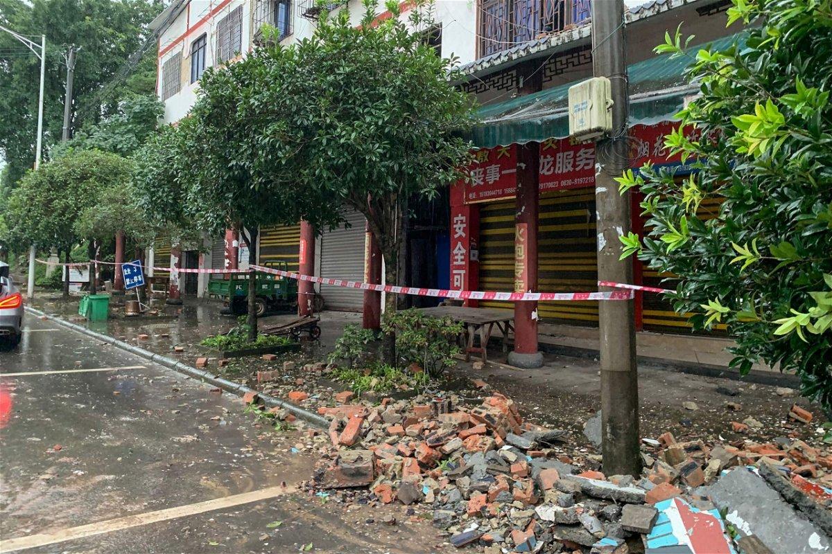 <i>STR/AFP/Getty Images</i><br/>A damaged wall in Luzhou