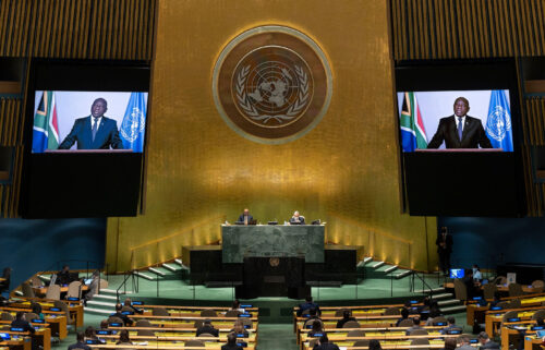 South Africa President Cyril Ramaphosa delivers a prerecorded address on the twentieth anniversary of the adoption of the Durban Declaration and Programme of Action on September 22 in New York.