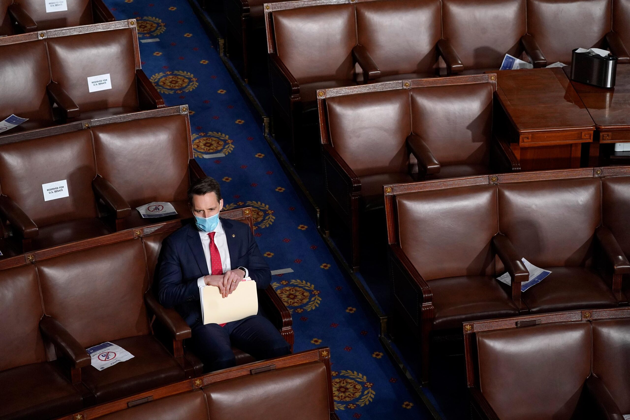 <i>Drew Angerer/Getty Images</i><br/>Republican Sen. Josh Hawley said September 14 that he will place a hold on