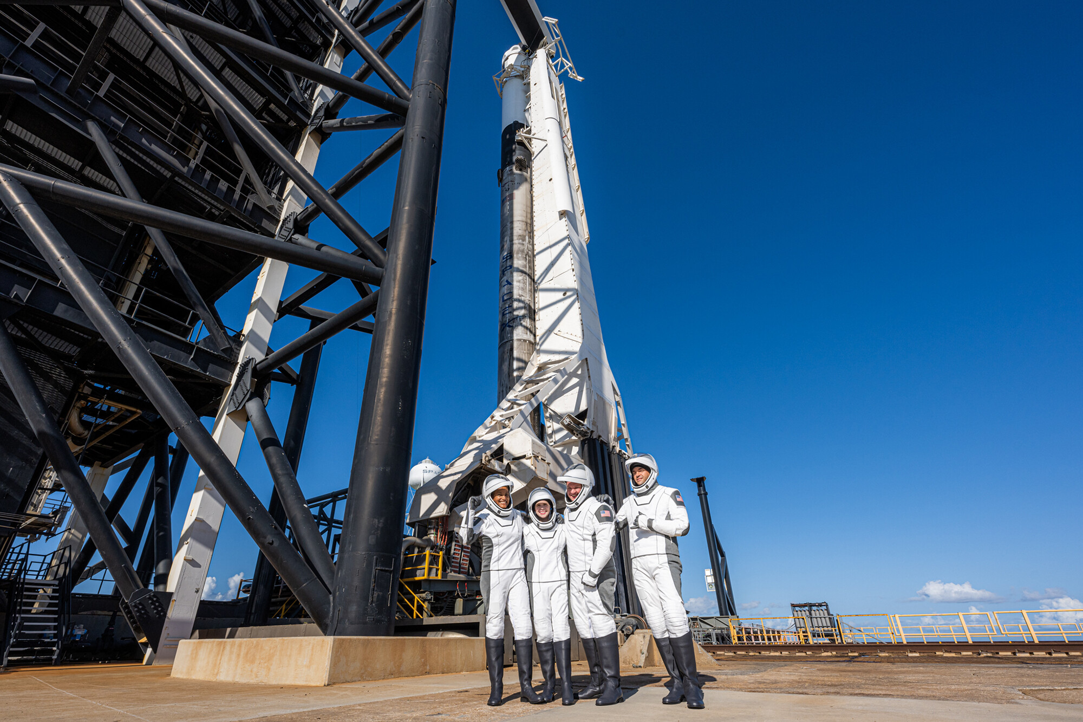 <i>John Kraus/Inspiration4</i><br/>The Inspiration4 crew before boarding the Crew Dragon capsule on September 15