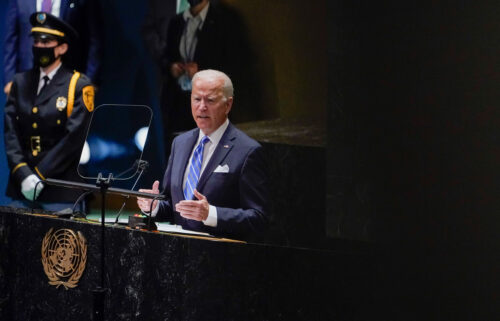 President Joe Biden delivers remarks to the 76th Session of the United Nations General Assembly on Tuesday in New York.