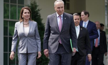 House Speaker Nancy Pelosi and Senate Majority Leader Chuck Schumer are seen here after meeting with other House and Senate Democrats.