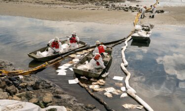 Patriot Environmental employees work Monday to clear oil from the surface of the water inside Talbert Marsh