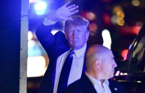 Former U.S. President Donald Trump arrives at Trump Tower in Manhattan on October 17